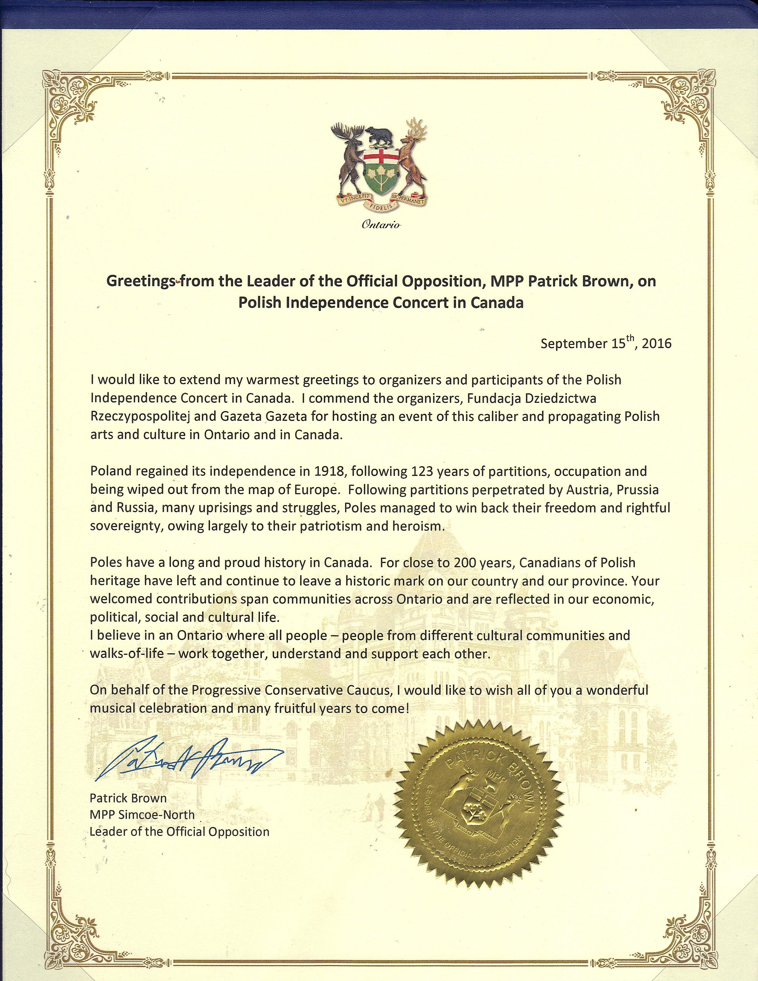 List kanadyjskiego parlamentarzysty Patryka Browna, lidera opozycji Ontario