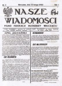 Jaltas Lūgums publicēts pagrīdes avīzē Cīnošas Jaunatnes Federācija 1985. g.
