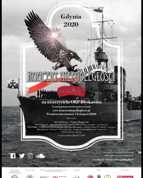 """Plakat Koncertu Niepodległości """"Poland"""" na ORP Błyskawica."""